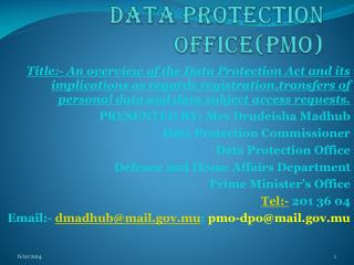 Data protection office(PMO)
