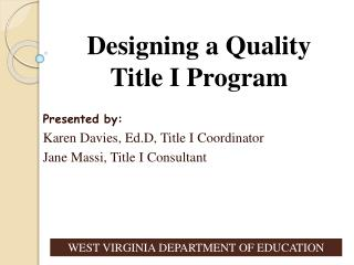 Designing a Quality Title I Program