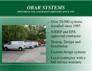 OBAR SYSTEMS PROVIDING VOC AND RADON SERVICES SINCE 1985