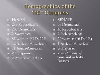 Demographics of the  113th Congress