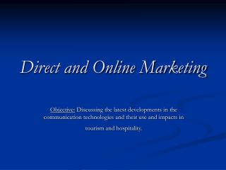 Direct and Online Marketing