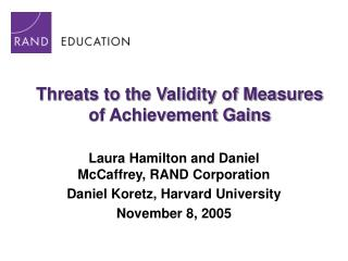 Threats to the Validity of Measures of Achievement Gains