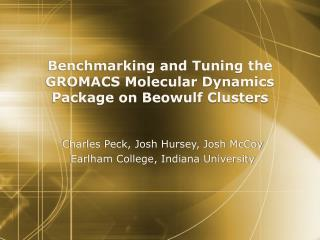 Benchmarking and Tuning the GROMACS Molecular Dynamics Package on Beowulf Clusters