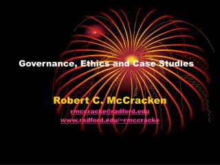 Governance, Ethics and Case Studies
