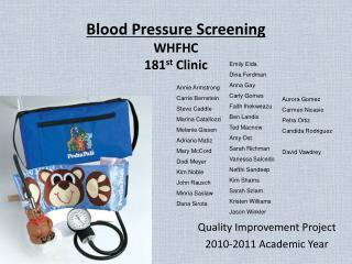 Blood Pressure Screening WHFHC 181 st Clinic