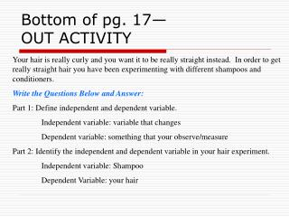 Bottom of pg. 17  OUT ACTIVITY