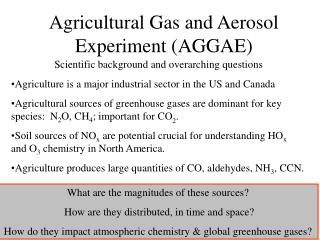 Agricultural Gas and Aerosol Experiment AGGAE