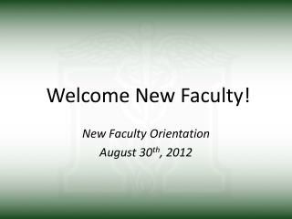 Welcome New Faculty!