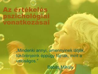 Az értékelés pszichológiai vonatkozásai