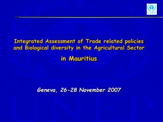 Integrated Assessment of Trade related policies and Biological diversity in the Agricultural Sector  in Mauritius   Gene