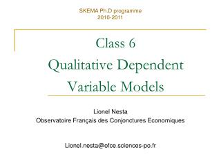 Class 6 Qualitative Dependent  Variable Models