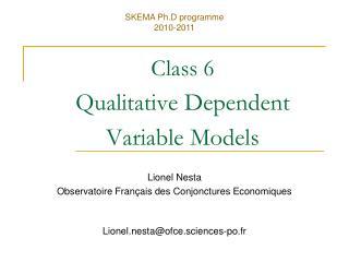 Class 6 Qualitative Dependent Variable Models