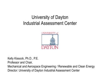 University of Dayton Industrial Assessment Center