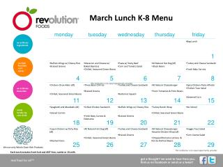 March Lunch K-8 Menu