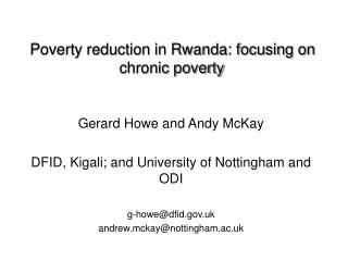 Poverty reduction in Rwanda: focusing on chronic poverty