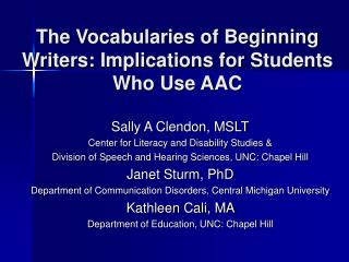 The Vocabularies of Beginning Writers: Implications for Students Who Use AAC