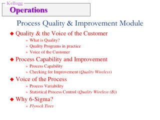 Quality  the Voice of the Customer What is Quality Quality Programs in practice Voice of the Customer Process Capability