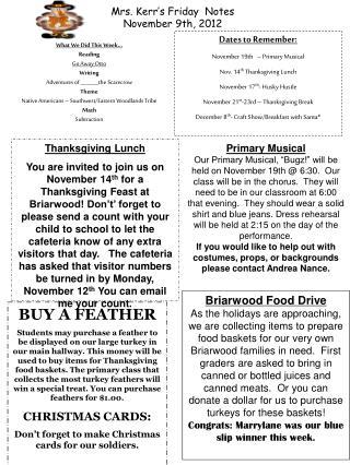 Mrs. Kerr's Friday Notes November 9th, 2012