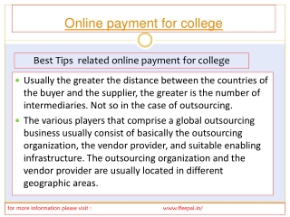 View of online payment for college