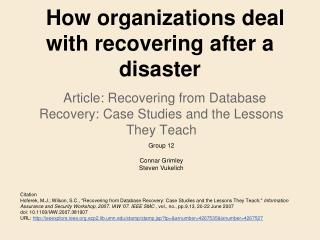 How organizations deal with recovering after a disaster