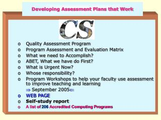 Developing Assessment Plans that Work