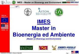 IMES Master in  Bioenergia ed Ambiente Master on Bioenergy and Environment