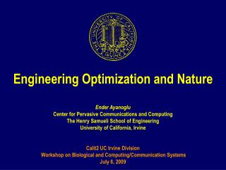 Engineering Optimization and Nature