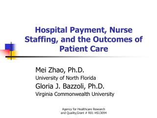Hospital Payment, Nurse Staffing, and the Outcomes of Patient Care