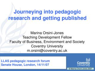 Journeying into pedagogic research and getting published