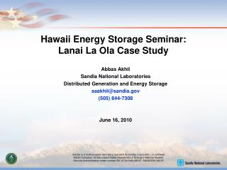 Hawaii Energy Storage Seminar: Lanai La Ola Case Study