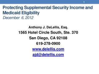 Protecting Supplemental Security Income and Medicaid Eligibility December 6, 2012
