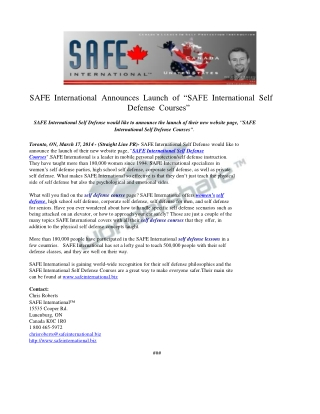 SAFE International Announces Launch of