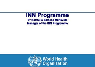 INN Programme Dr Raffaella Balocco Mattavelli Manager of the INN Programme