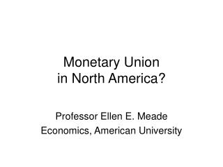 Monetary Union in North America?