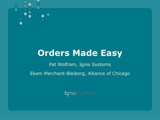Orders Made Easy