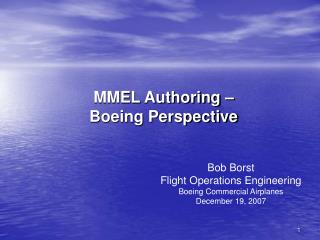 MMEL Authoring –  Boeing Perspective