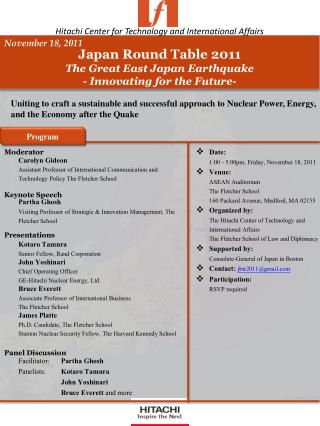 Japan  Round Table 2011 The Great East Japan Earthquake - Innovating for  the Future-