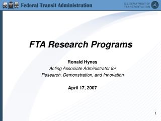 FTA Research Programs