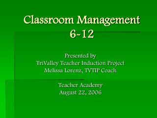 Classroom Management 6-12