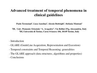 Advanced treatment of temporal phenomena in clinical guidelines
