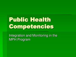 Public Health Competencies