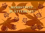 HERBSTFEST BL TTERFALL