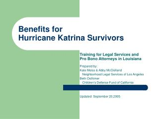 Benefits for Hurricane Katrina Survivors