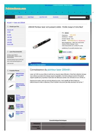 200mW Pointeur laser vert puissant