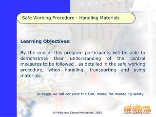Safe Working Procedure - Handling Materials