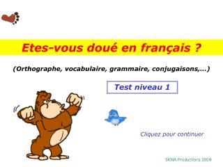 (Orthographe, vocabulaire, grammaire, conjugaisons,…)