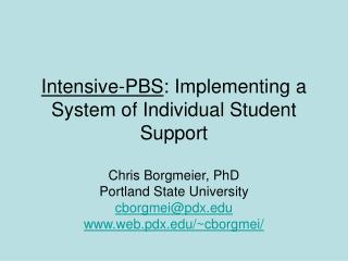 Intensive-PBS : Implementing a System of Individual Student Support