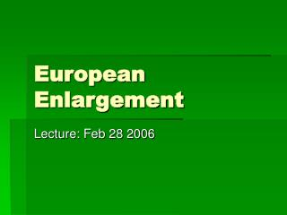 European Enlargement