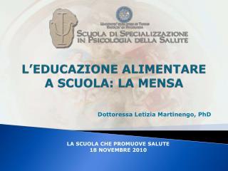 L'EDUCAZIONE ALIMENTARE A SCUOLA: LA MENSA