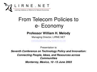 From Telecom Policies to  e- Economy
